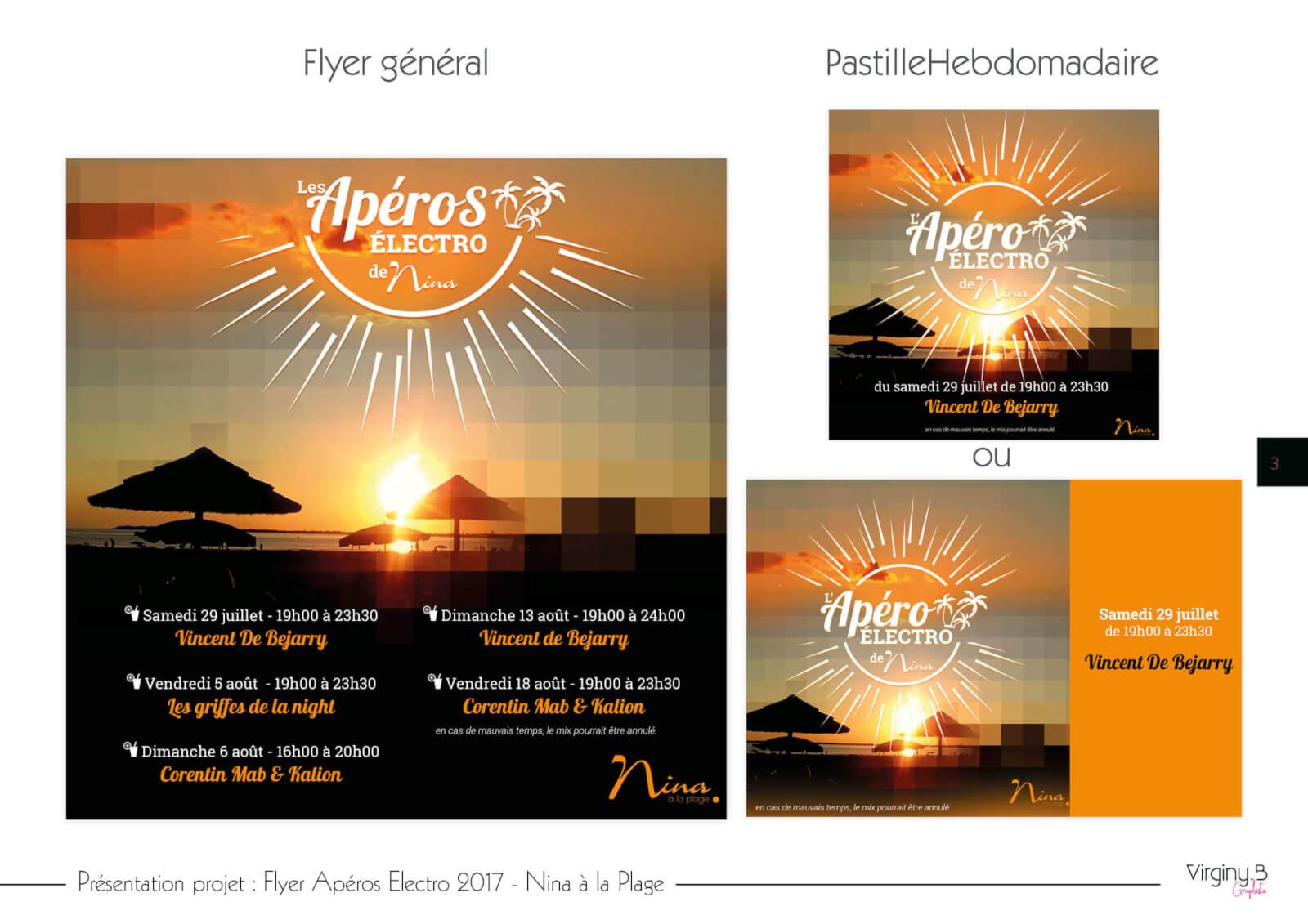 Flyer Aperos Electro Nina à la plage