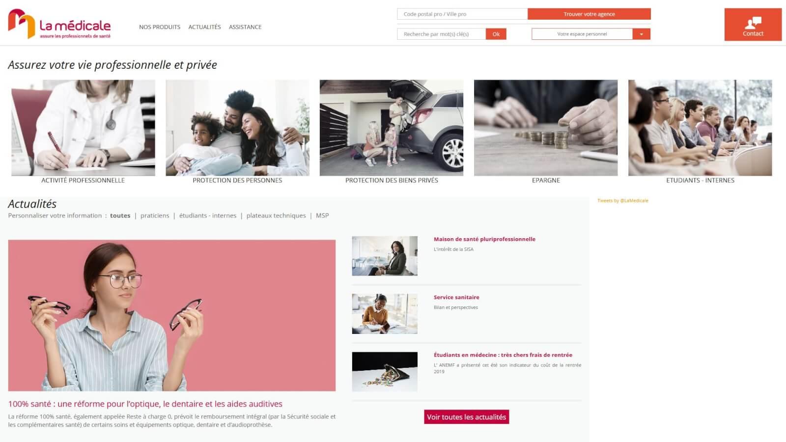 Capture accueil site La médicale - Agence Celuga