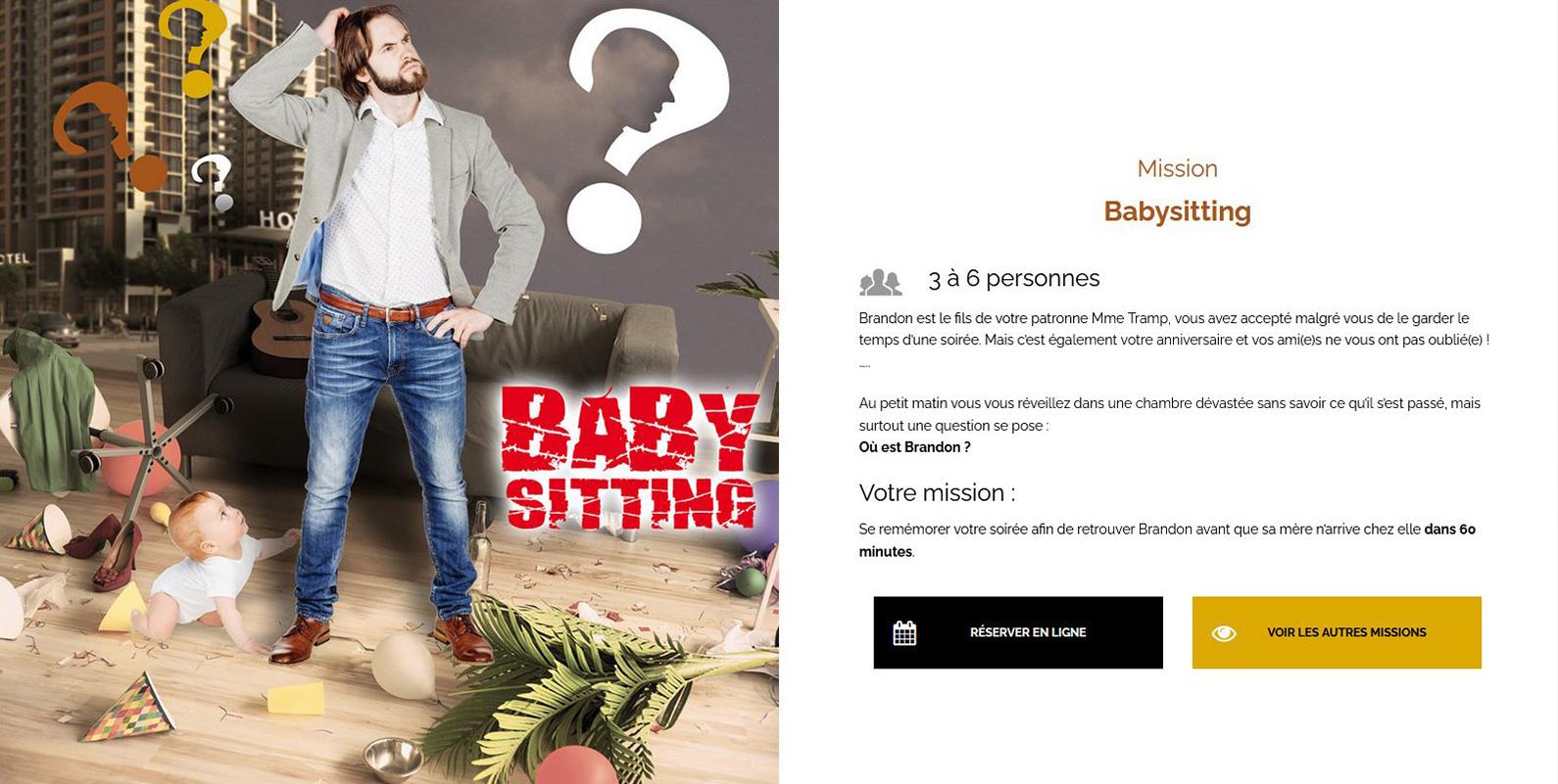 """Visuel page Mission """"Babysitting"""" pour L'Escapade"""