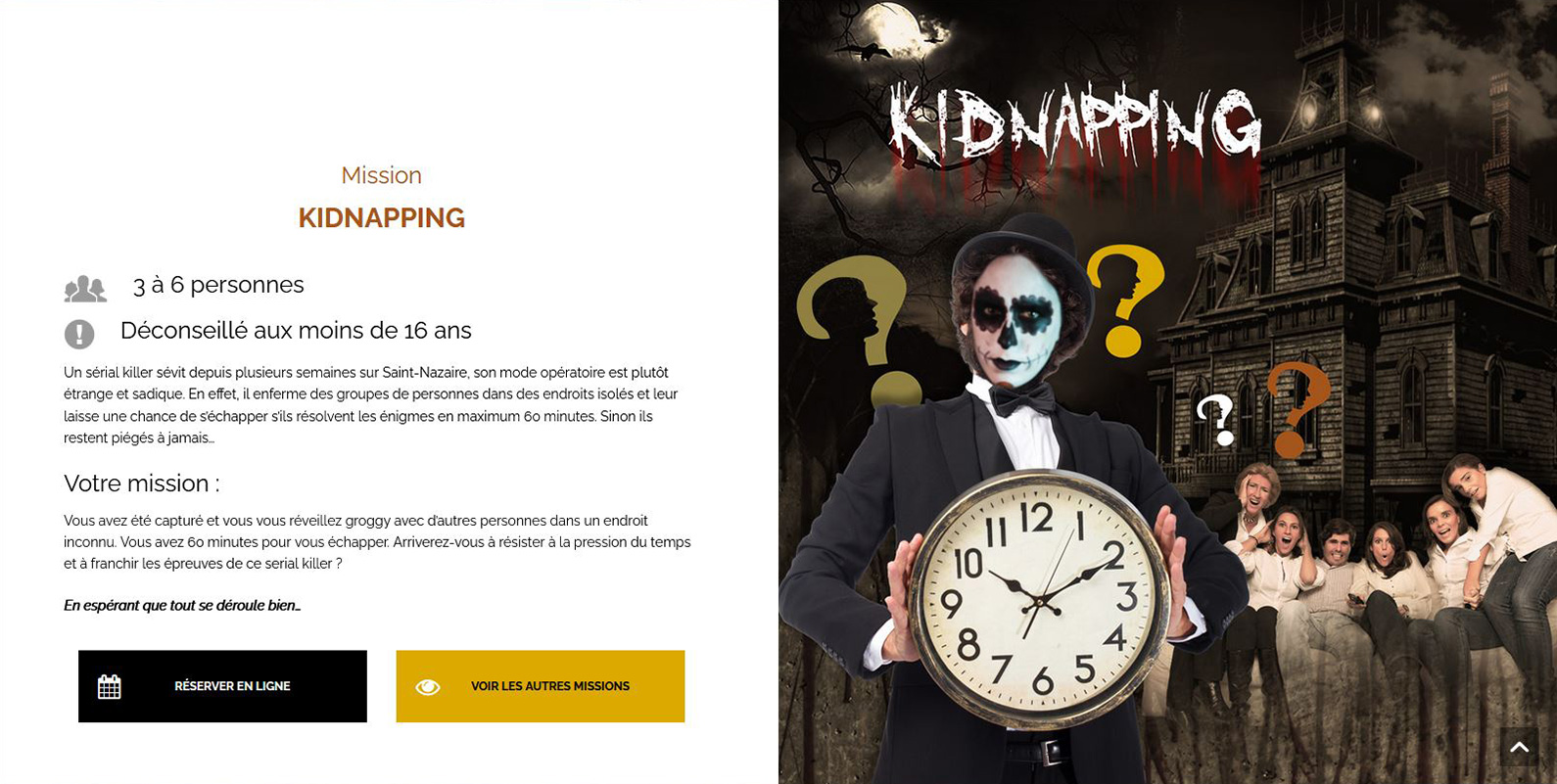 "Visuel page Mission ""Kidnapping"" pour L'Escapade"