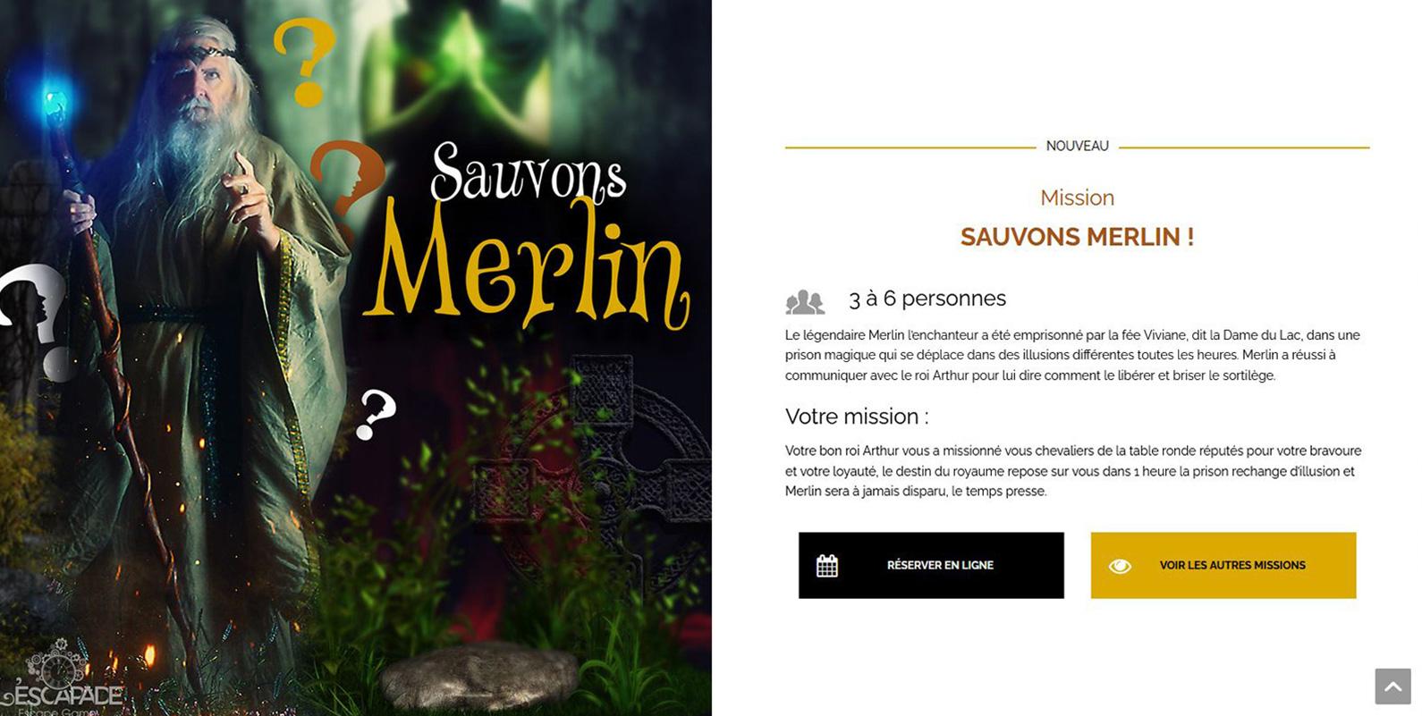 """Visuel page Mission """"Sauvons Merlin"""" pour L'Escapade"""