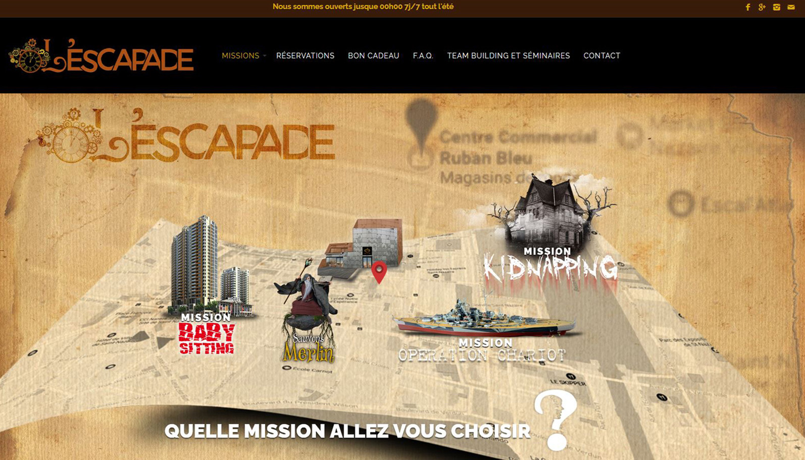 Visuel plan des missions L'Escapade